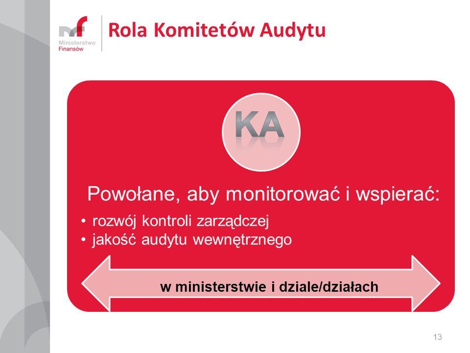 Rola Komitetów Audytu Powołane, aby monitorować i wspierać: rozwój kontroli zarządczej jakość audytu wewnętrznego 13 w ministerstwie i dziale/działach