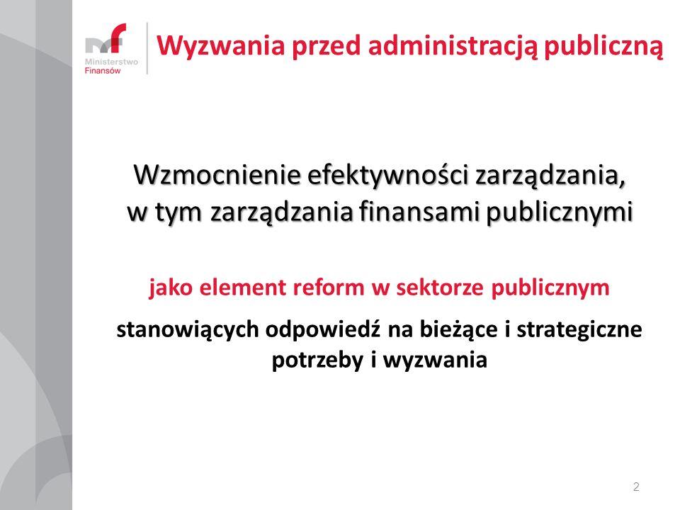 Wyzwania przed administracją publiczną Wzmocnienie efektywności zarządzania, w tym zarządzania finansami publicznymi jako element reform w sektorze publicznym stanowiących odpowiedź na bieżące i strategiczne potrzeby i wyzwania 2