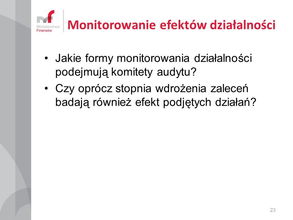 Monitorowanie efektów działalności Jakie formy monitorowania działalności podejmują komitety audytu.