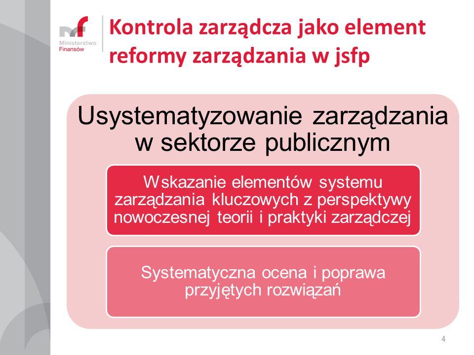 Kontrola zarządcza jako element reformy zarządzania w jsfp Usystematyzowanie zarządzania w sektorze publicznym Wskazanie elementów systemu zarządzania kluczowych z perspektywy nowoczesnej teorii i praktyki zarządczej Systematyczna ocena i poprawa przyjętych rozwiązań 4