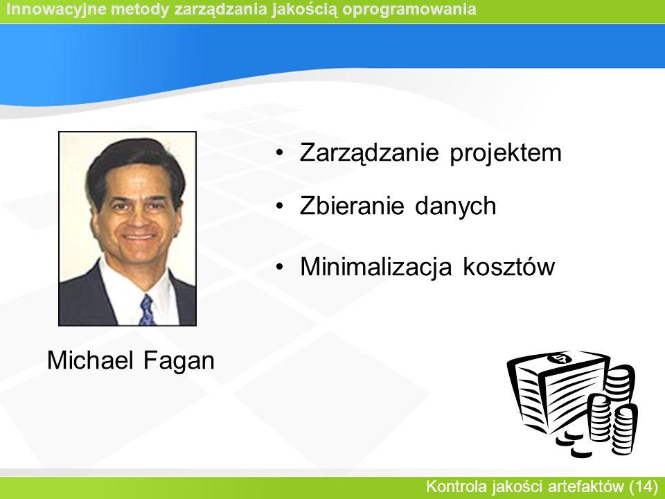 Innowacyjne metody zarządzania jakością oprogramowania Kontrola jakości artefaktów (14) Michael Fagan Zarządzanie projektem Zbieranie danych Minimalizacja kosztów