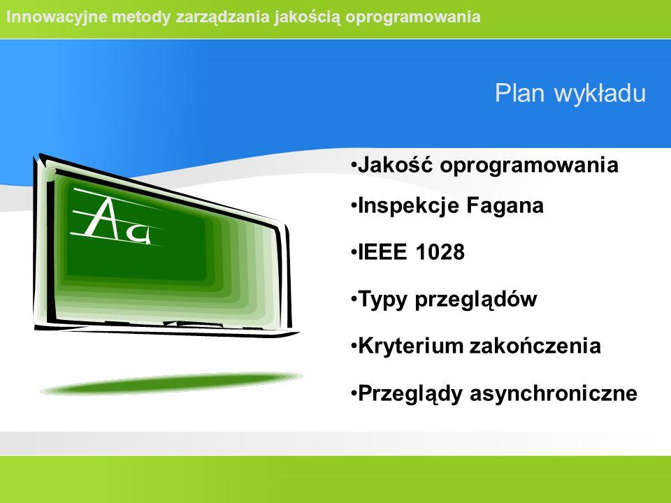 Innowacyjne metody zarządzania jakością oprogramowania Plan wykładu Jakość oprogramowania Inspekcje Fagana IEEE 1028 Typy przeglądów Kryterium zakończenia Przeglądy asynchroniczne