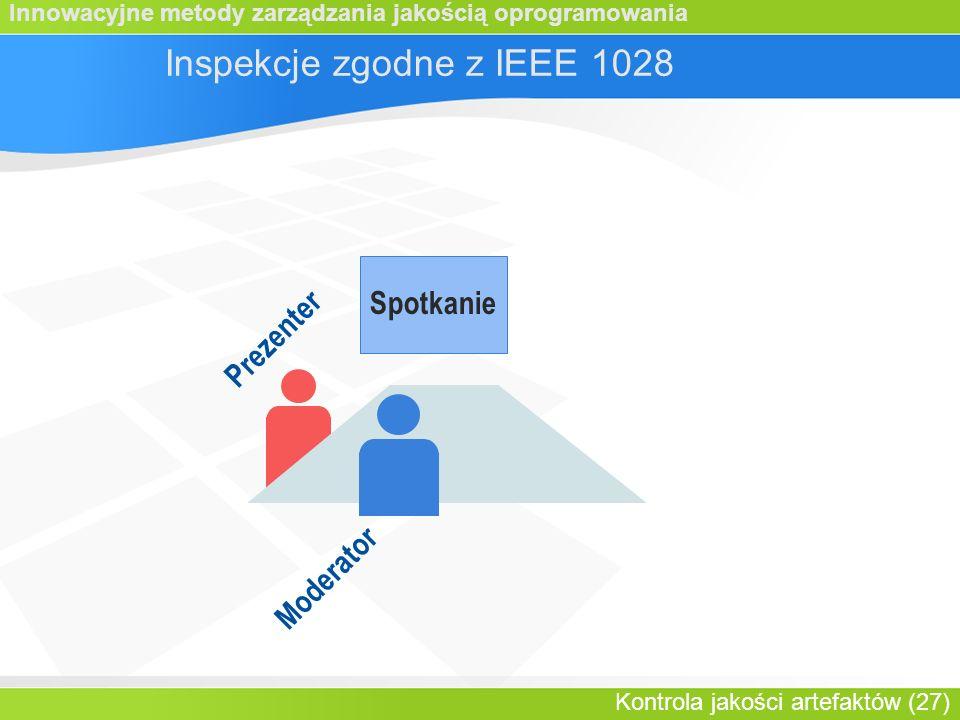 Innowacyjne metody zarządzania jakością oprogramowania Kontrola jakości artefaktów (27) Spotkanie Prezenter Inspekcje zgodne z IEEE 1028 Moderator