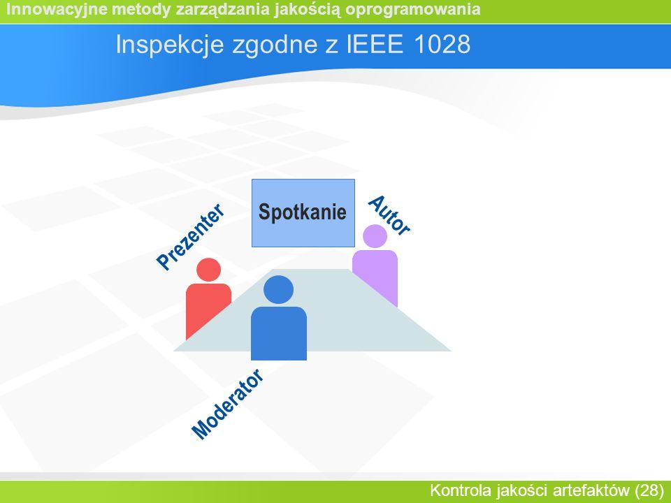 Innowacyjne metody zarządzania jakością oprogramowania Kontrola jakości artefaktów (28) Spotkanie Prezenter Inspekcje zgodne z IEEE 1028 Autor Moderator