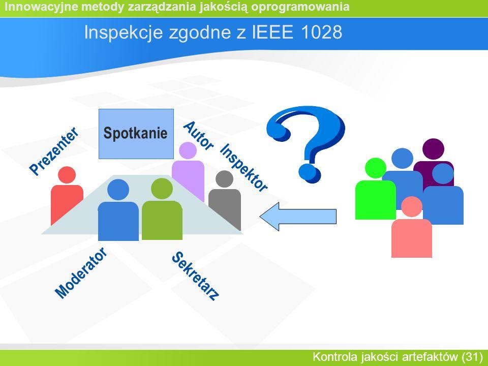 Innowacyjne metody zarządzania jakością oprogramowania Kontrola jakości artefaktów (31) Inspektor Spotkanie Prezenter Inspekcje zgodne z IEEE 1028 Autor Moderator Sekretarz