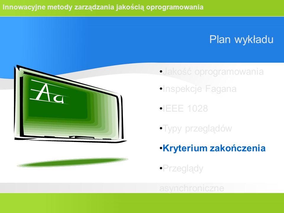 Innowacyjne metody zarządzania jakością oprogramowania Plan wykładu Jakość oprogramowania Inspekcje Fagana IEEE 1028 Typy przeglądów Kryterium zakończ