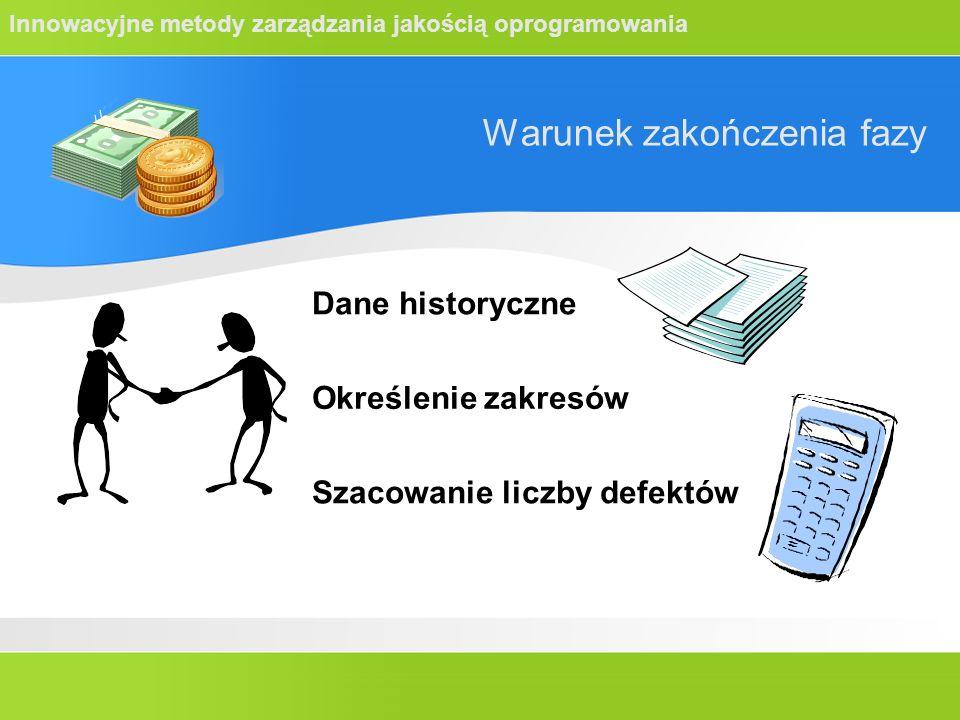 Innowacyjne metody zarządzania jakością oprogramowania Warunek zakończenia fazy Dane historyczne Określenie zakresów Szacowanie liczby defektów