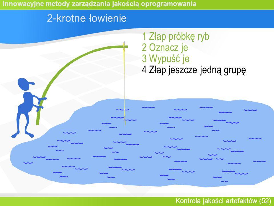 Innowacyjne metody zarządzania jakością oprogramowania Kontrola jakości artefaktów (52) 2-krotne łowienie 1 Złap próbkę ryb 2 Oznacz je 3 Wypuść je 4 Złap jeszcze jedną grupę