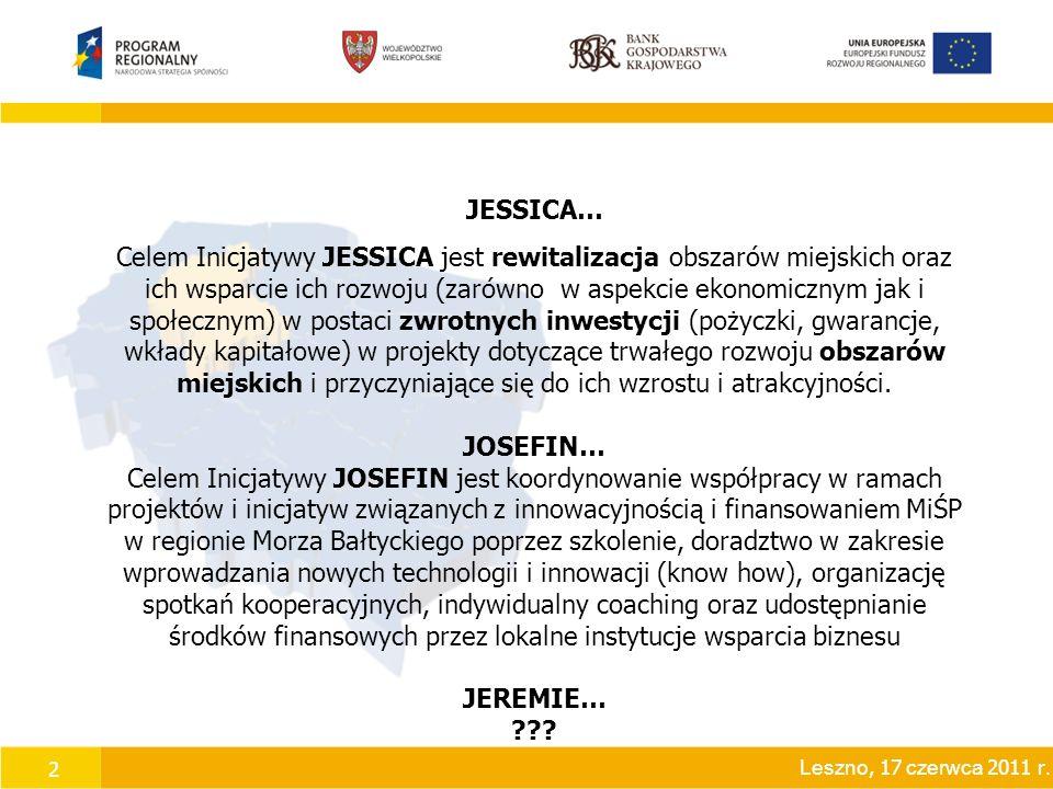 2 JESSICA… Celem Inicjatywy JESSICA jest rewitalizacja obszarów miejskich oraz ich wsparcie ich rozwoju (zarówno w aspekcie ekonomicznym jak i społecznym) w postaci zwrotnych inwestycji (pożyczki, gwarancje, wkłady kapitałowe) w projekty dotyczące trwałego rozwoju obszarów miejskich i przyczyniające się do ich wzrostu i atrakcyjności.