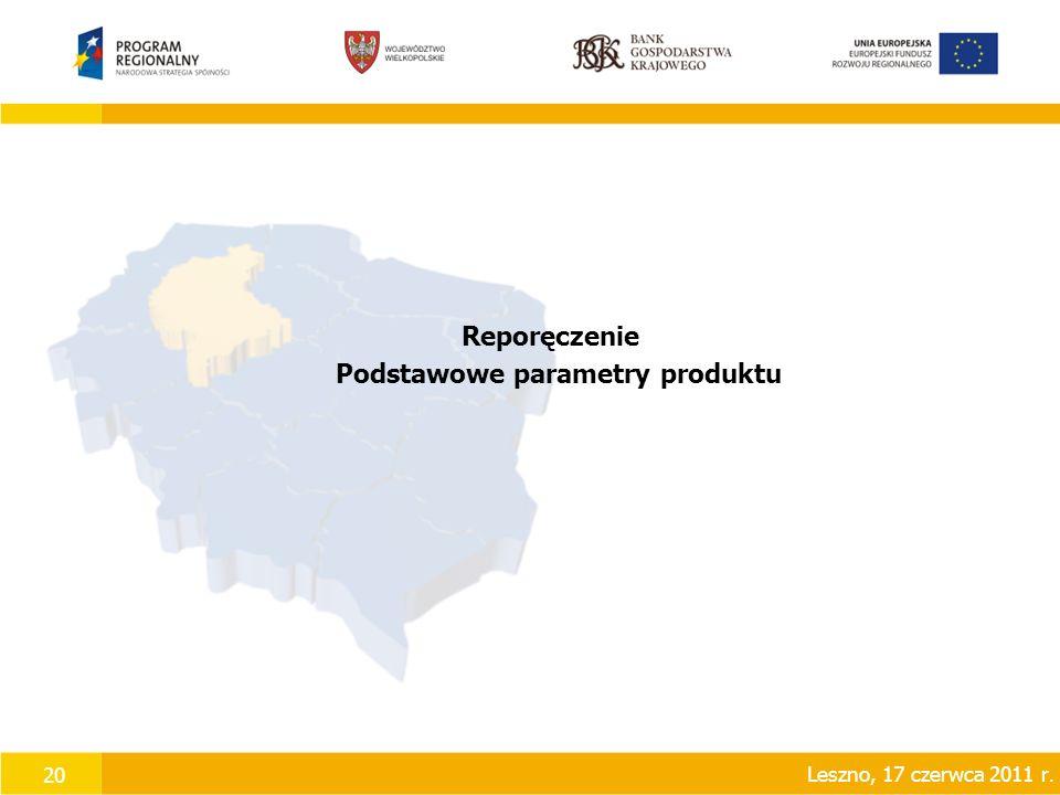 20 Reporęczenie Podstawowe parametry produktu Leszno, 17 czerwca 2011 r.
