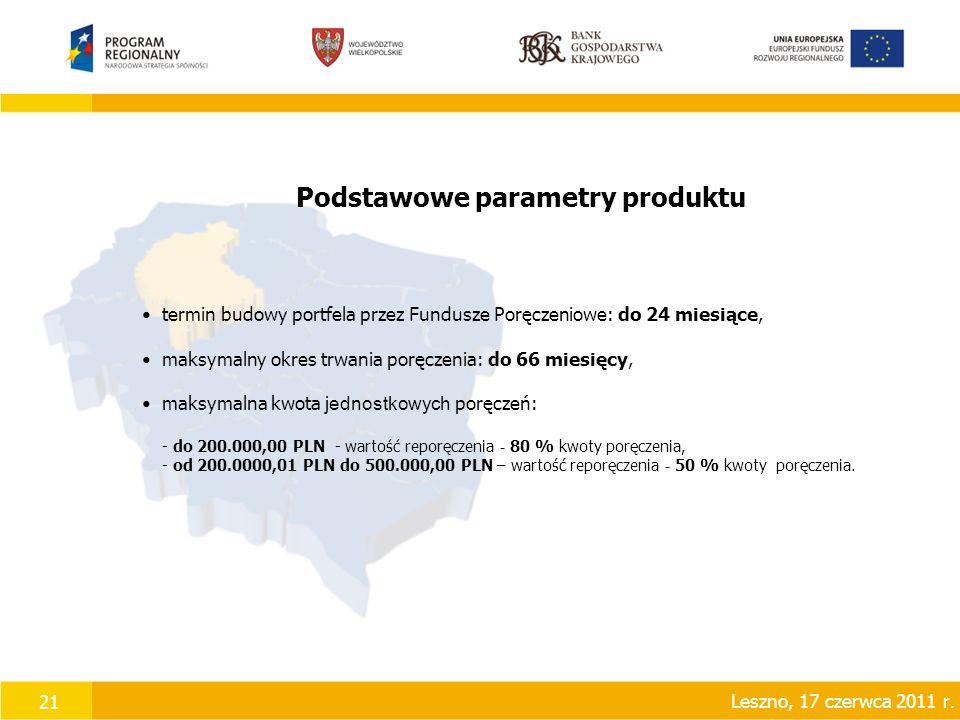 21 Podstawowe parametry produktu termin budowy portfela przez Fundusze Poręczeniowe: do 24 miesiące, maksymalny okres trwania poręczenia: do 66 miesięcy, maksymalna kwota jednostkowych poręczeń: - do 200.000,00 PLN - wartość reporęczenia - 80 % kwoty poręczenia, - od 200.0000,01 PLN do 500.000,00 PLN – wartość reporęczenia - 50 % kwoty poręczenia.