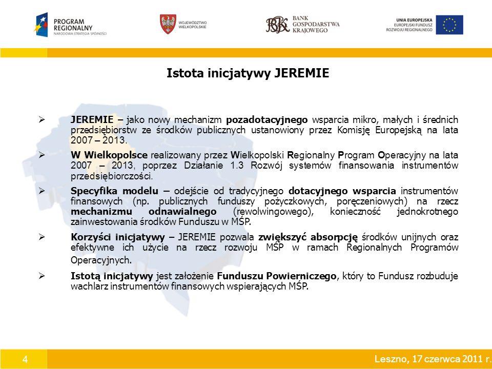 4 Istota inicjatywy JEREMIE  JEREMIE – jako nowy mechanizm pozadotacyjnego wsparcia mikro, małych i średnich przedsiębiorstw ze środków publicznych ustanowiony przez Komisję Europejską na lata 2007 – 2013.