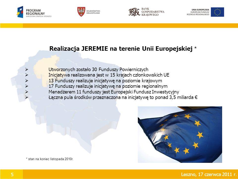 5 Realizacja JEREMIE na terenie Unii Europejskiej *  Utworzonych zostało 30 Funduszy Powierniczych  Inicjatywa realizowana jest w 15 krajach członkowskich UE  13 Funduszy realizuje inicjatywę na poziomie krajowym  17 Funduszy realizuje inicjatywę na poziomie regionalnym  Menadżerem 11 funduszy jest Europejski Fundusz Inwestycyjny  Łączna pula środków przeznaczona na inicjatywę to ponad 3,5 miliarda € * stan na koniec listopada 2010r.