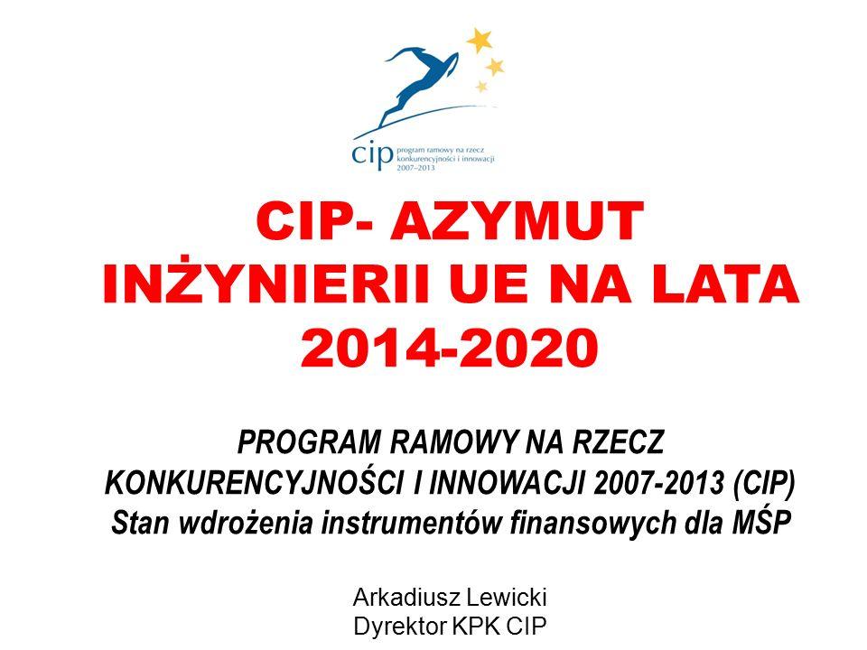 CIP- AZYMUT INŻYNIERII UE NA LATA 2014-2020 PROGRAM RAMOWY NA RZECZ KONKURENCYJNOŚCI I INNOWACJI 2007-2013 (CIP) Stan wdrożenia instrumentów finansowych dla MŚP Arkadiusz Lewicki Dyrektor KPK CIP