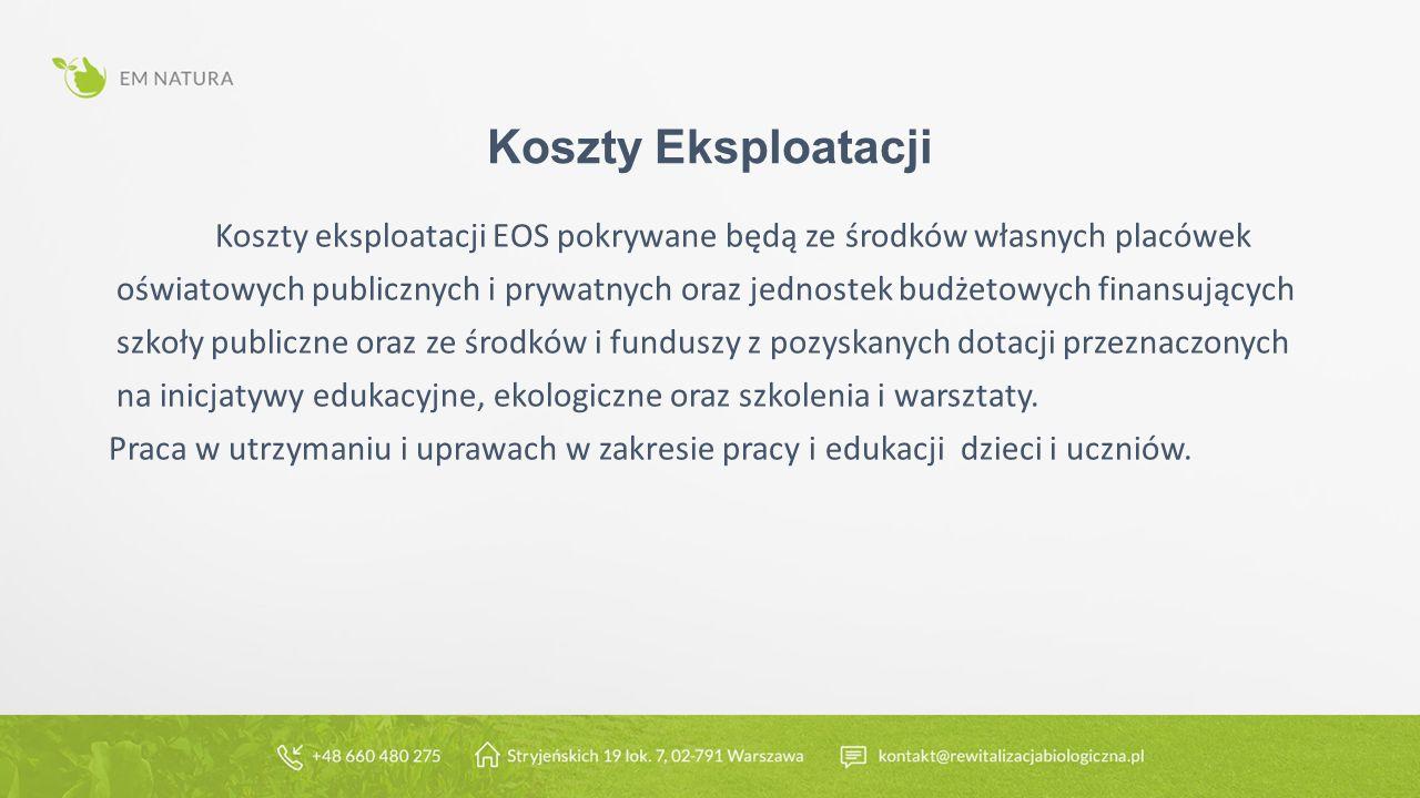 Koszty Eksploatacji Koszty eksploatacji EOS pokrywane będą ze środków własnych placówek oświatowych publicznych i prywatnych oraz jednostek budżetowych finansujących szkoły publiczne oraz ze środków i funduszy z pozyskanych dotacji przeznaczonych na inicjatywy edukacyjne, ekologiczne oraz szkolenia i warsztaty.