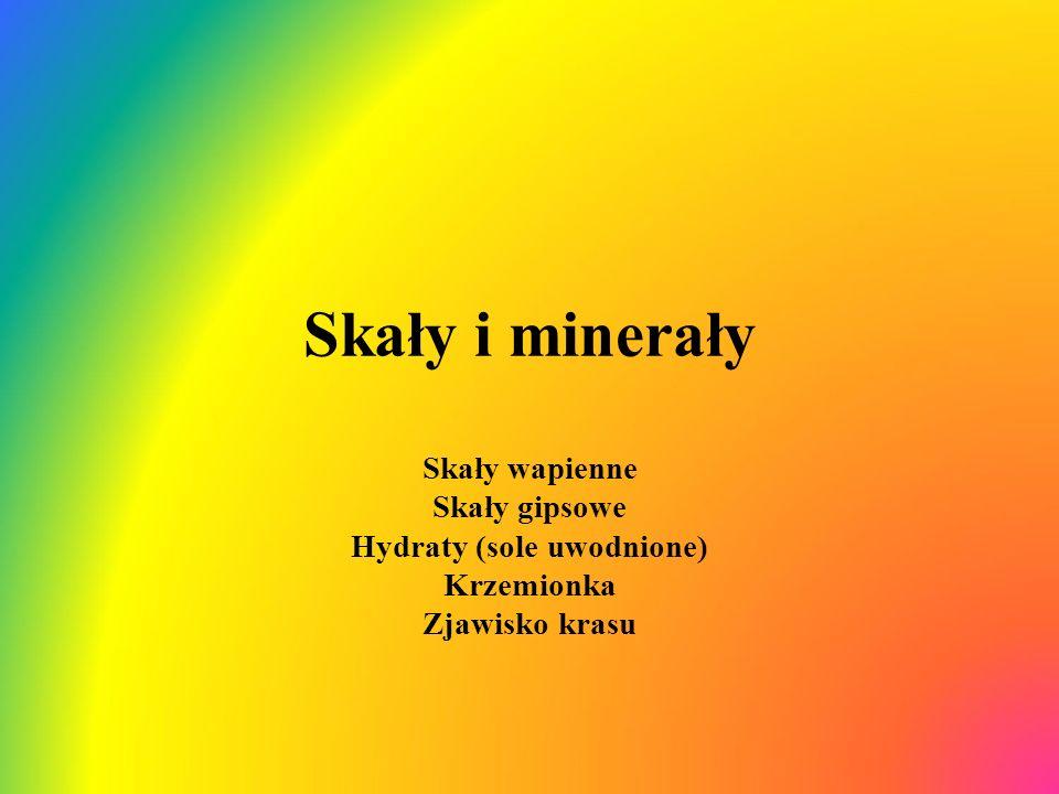 Skały i minerały Skały wapienne Skały gipsowe Hydraty (sole uwodnione) Krzemionka Zjawisko krasu
