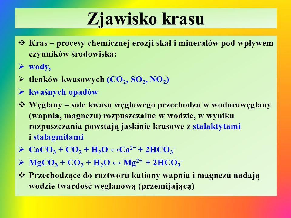 Zjawisko krasu  Kras – procesy chemicznej erozji skał i minerałów pod wpływem czynników środowiska:  wody,  tlenków kwasowych (CO 2, SO 2, NO 2 ) 