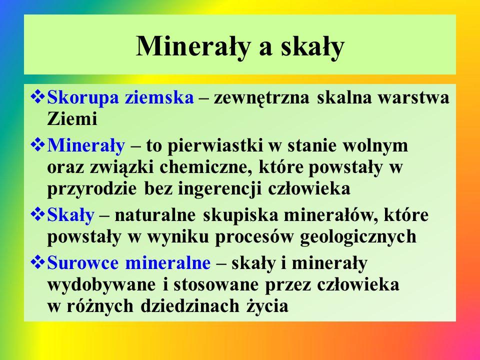 Ważniejsze minerały pierwiastkowe i formie związków chemicznych Minerały pierwiastkoweMinerały – związki chemiczne  Złoto (Au)  Srebro (Ag)  Platyna (Pt)  Siarka (S)  Odmiany alotropowe węgla (C); diament grafit  Kwarc / krzemionka: SiO 2  Korund: Al 2 O 3  Kalcyt: CaCO 3 (wchodzi w skład skał wapiennych, kredowych, marmuru, alabastru)  Gips: (CaSO 4 ) ∙ 2H 2 O  Apatyt: Ca 3 (PO 4 ) 2  Halit: NaCl  Kainit: KCl  Saletra chilijska: NaNO 3  Saletra indyjska: KNO 3  Saletra norweska: Ca(NO 3 ) 2  Magnezyt: MgCO 3  Dolomit: CaCO 3 ∙MgCO 3