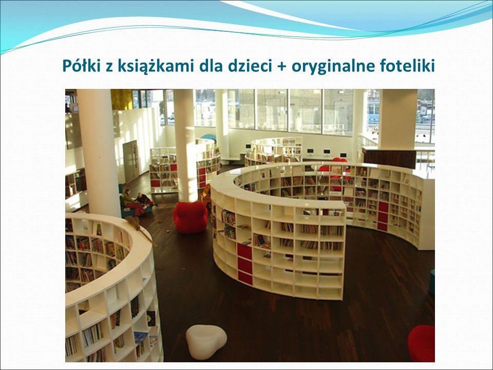 Półki z książkami dla dzieci + oryginalne foteliki