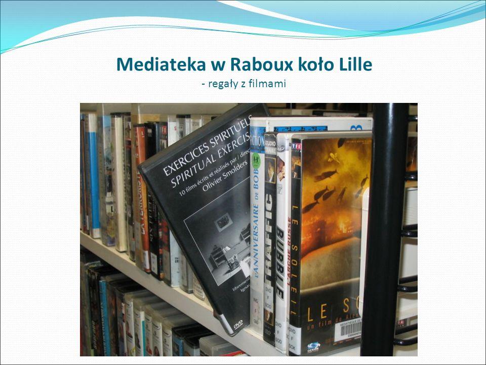 Mediateka w Raboux koło Lille - regały z filmami