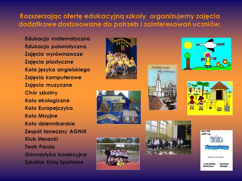 Rozszerzając ofertę edukacyjną szkoły organizujemy zajęcia dodatkowe dostosowane do potrzeb i zainteresowań uczniów. - Edukacja matematyczna - Edukacj
