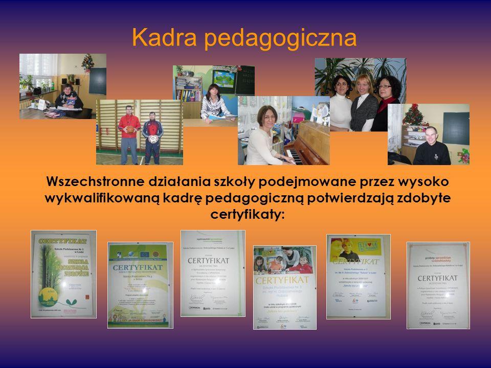 Wszechstronne działania szkoły podejmowane przez wysoko wykwalifikowaną kadrę pedagogiczną potwierdzają zdobyte certyfikaty: Kadra pedagogiczna