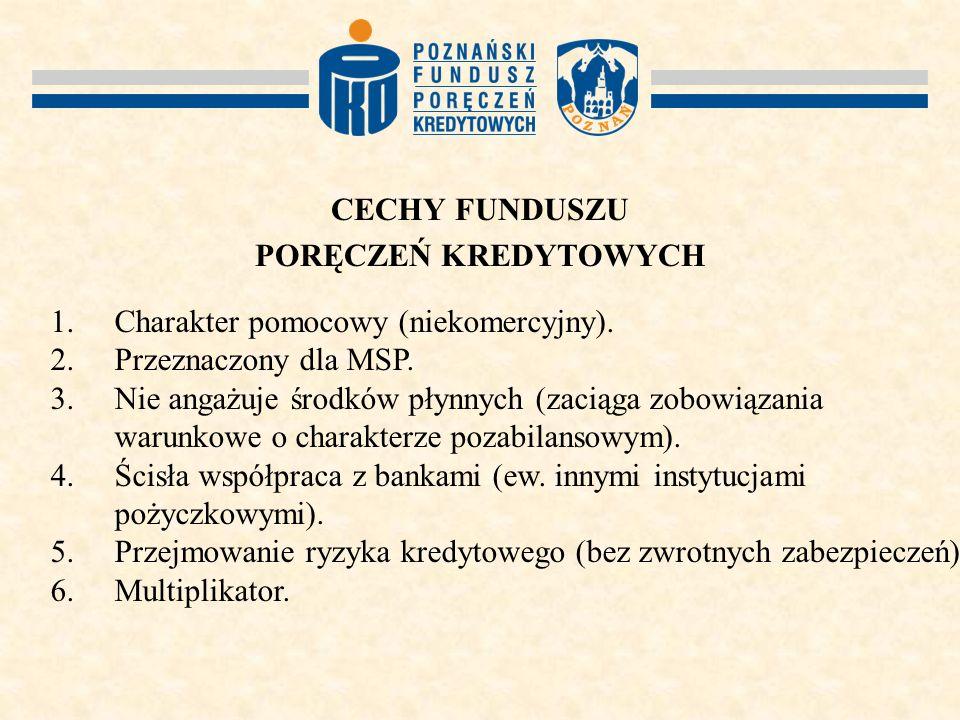 CECHY FUNDUSZU PORĘCZEŃ KREDYTOWYCH 1. Charakter pomocowy (niekomercyjny).