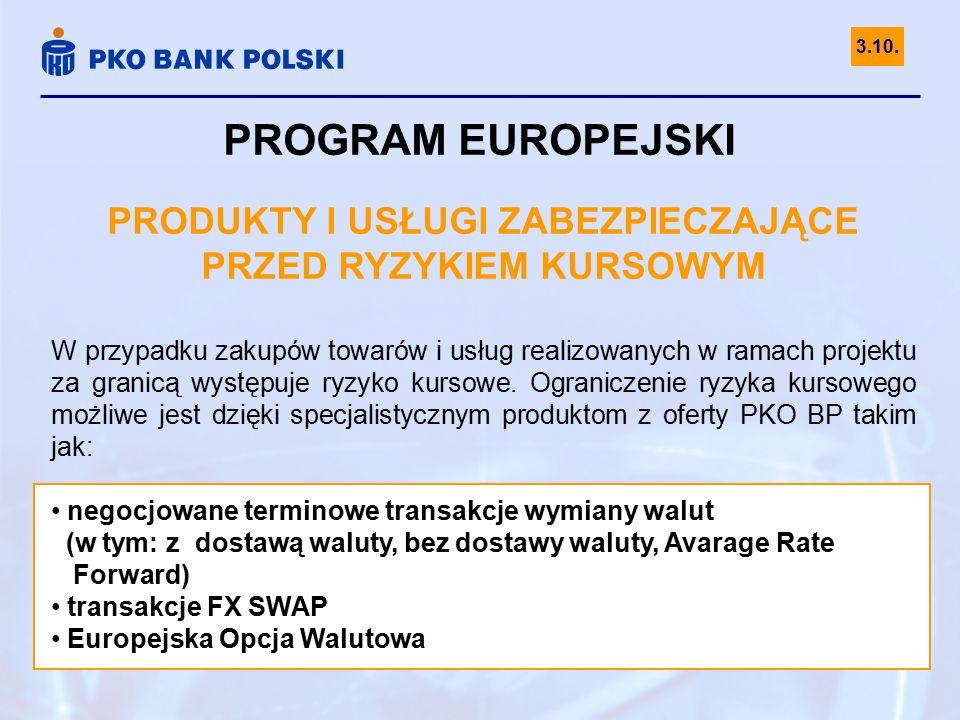 PROGRAM EUROPEJSKI PRODUKTY I USŁUGI ZABEZPIECZAJĄCE PRZED RYZYKIEM KURSOWYM W przypadku zakupów towarów i usług realizowanych w ramach projektu za gr