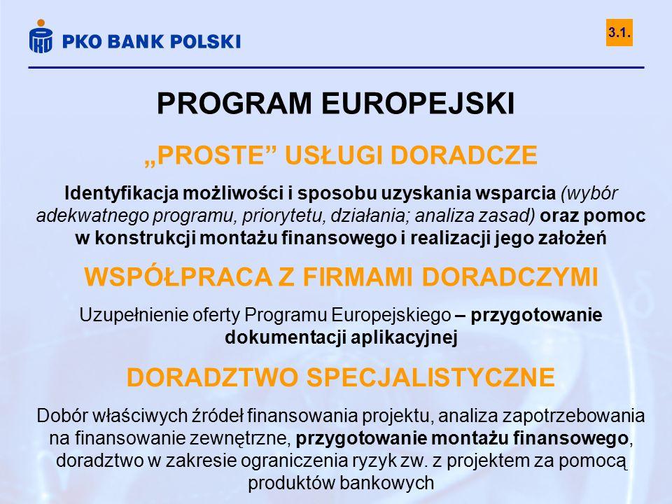 """PROGRAM EUROPEJSKI """"PROSTE USŁUGI DORADCZE Identyfikacja możliwości i sposobu uzyskania wsparcia (wybór adekwatnego programu, priorytetu, działania; analiza zasad) oraz pomoc w konstrukcji montażu finansowego i realizacji jego założeń WSPÓŁPRACA Z FIRMAMI DORADCZYMI Uzupełnienie oferty Programu Europejskiego – przygotowanie dokumentacji aplikacyjnej DORADZTWO SPECJALISTYCZNE Dobór właściwych źródeł finansowania projektu, analiza zapotrzebowania na finansowanie zewnętrzne, przygotowanie montażu finansowego, doradztwo w zakresie ograniczenia ryzyk zw."""