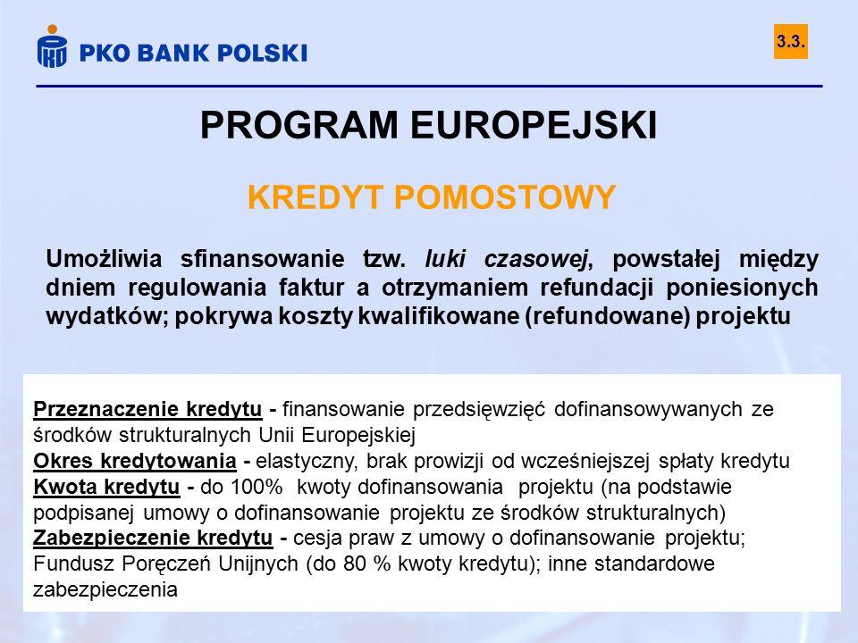 PROGRAM EUROPEJSKI KREDYT POMOSTOWY Umożliwia sfinansowanie tzw.