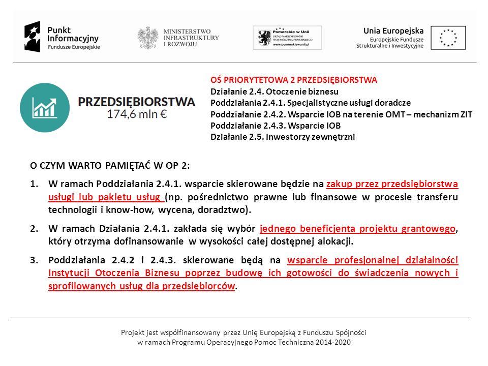Projekt jest współfinansowany przez Unię Europejską z Funduszu Spójności w ramach Programu Operacyjnego Pomoc Techniczna 2014-2020 OŚ PRIORYTETOWA 2 PRZEDSIĘBIORSTWA Działanie 2.4.