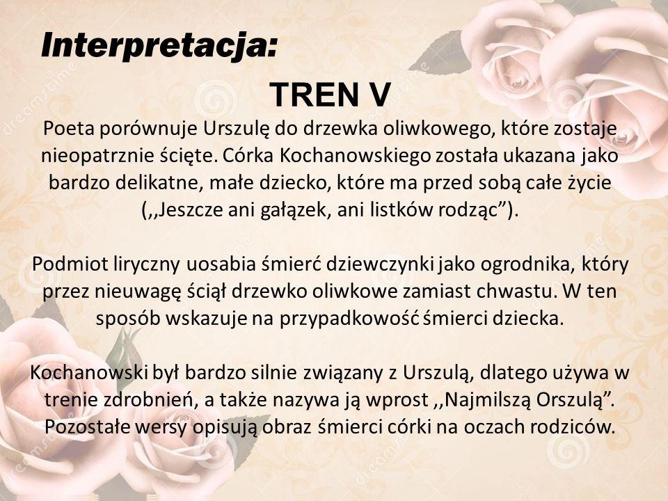Interpretacja: TREN V Poeta porównuje Urszulę do drzewka oliwkowego, które zostaje nieopatrznie ścięte.