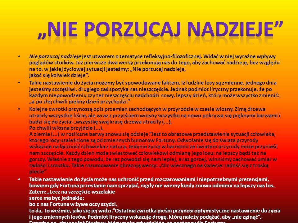 Pieśń XX z ksiąg pierwszych o incipicie Miło szaleć, kiedy czas po temu...