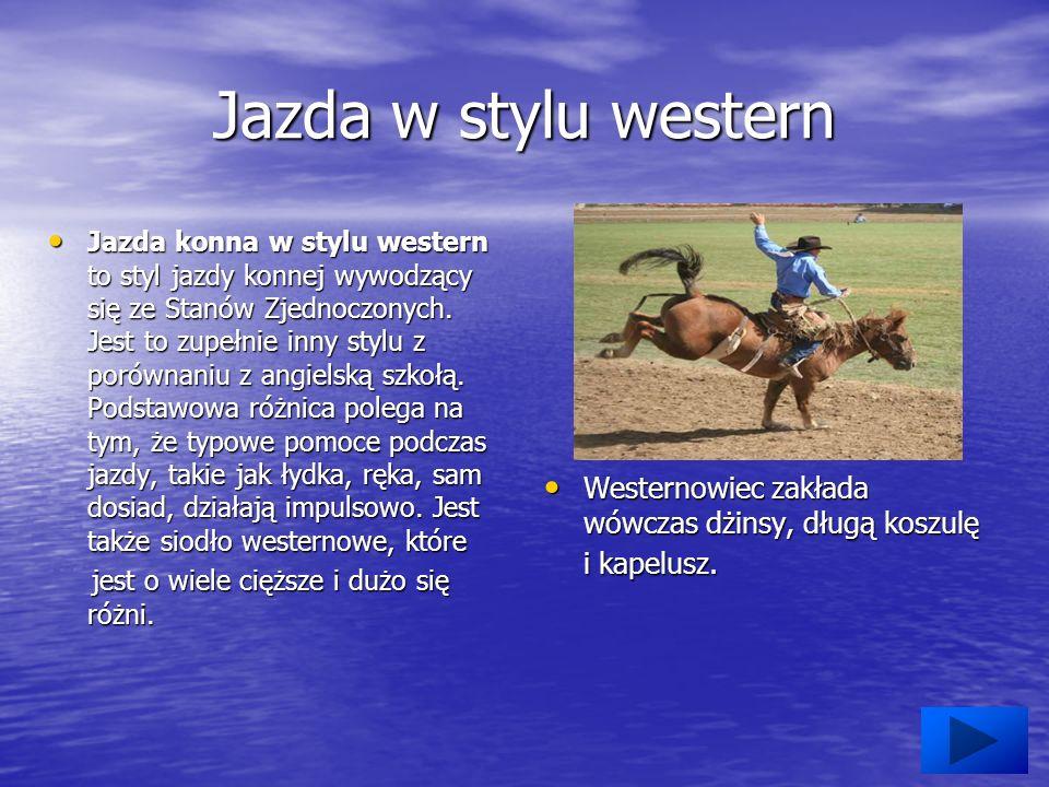 Jazda w stylu western Jazda konna w stylu western to styl jazdy konnej wywodzący się ze Stanów Zjednoczonych.