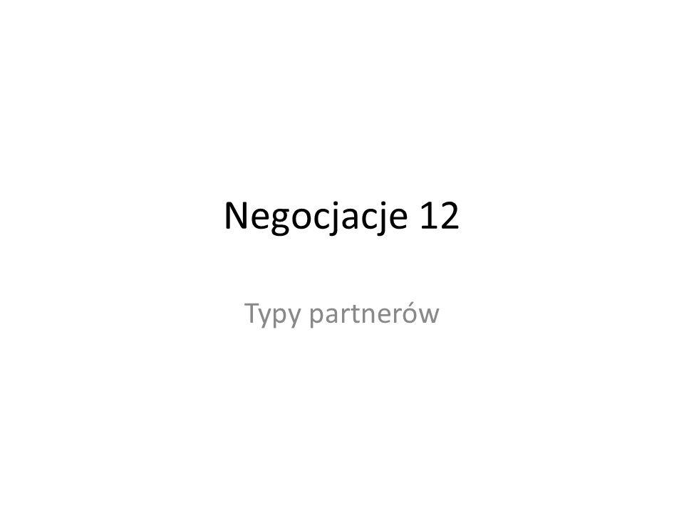 Negocjacje 12 Typy partnerów