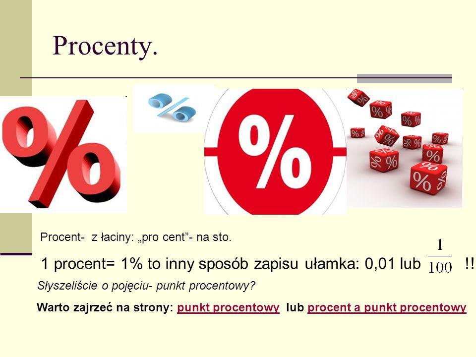 """Procenty. Procent- z łaciny: """"pro cent - na sto."""