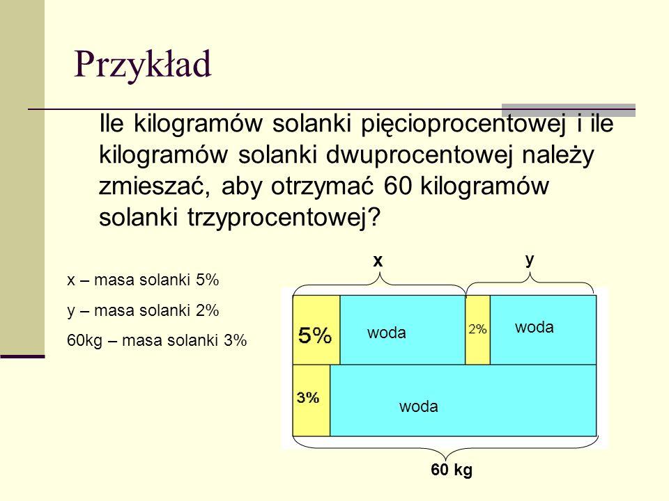 Przykład Ile kilogramów solanki pięcioprocentowej i ile kilogramów solanki dwuprocentowej należy zmieszać, aby otrzymać 60 kilogramów solanki trzyprocentowej.