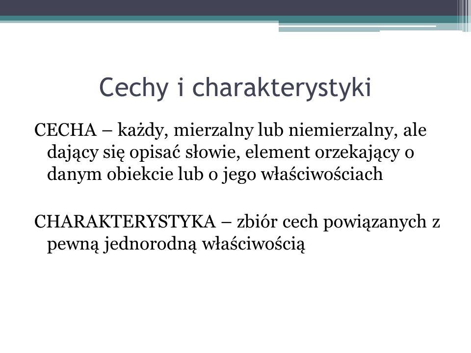 Cechy i charakterystyki CECHA – każdy, mierzalny lub niemierzalny, ale dający się opisać słowie, element orzekający o danym obiekcie lub o jego właściwościach CHARAKTERYSTYKA – zbiór cech powiązanych z pewną jednorodną właściwością