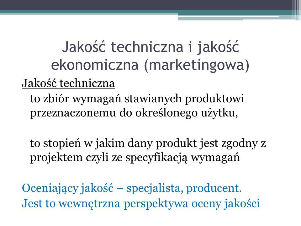 Jakość techniczna i jakość ekonomiczna (marketingowa) Jakość techniczna to zbiór wymagań stawianych produktowi przeznaczonemu do określonego użytku, to stopień w jakim dany produkt jest zgodny z projektem czyli ze specyfikacją wymagań Oceniający jakość – specjalista, producent.