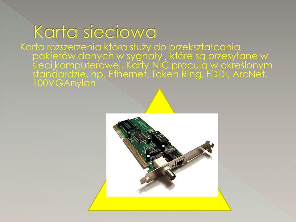 Karta rozszerzenia która służy do przekształcania pakietów danych w sygnały, które są przesyłane w sieci komputerowej.