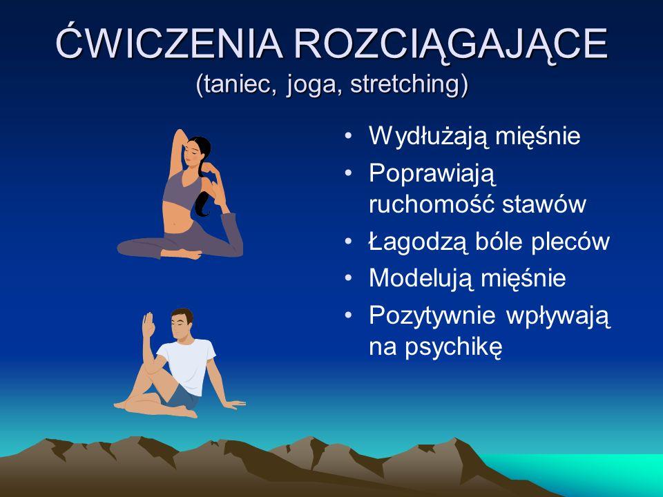 ĆWICZENIA ROZCIĄGAJĄCE (taniec, joga, stretching) Wydłużają mięśnie Poprawiają ruchomość stawów Łagodzą bóle pleców Modelują mięśnie Pozytywnie wpływają na psychikę