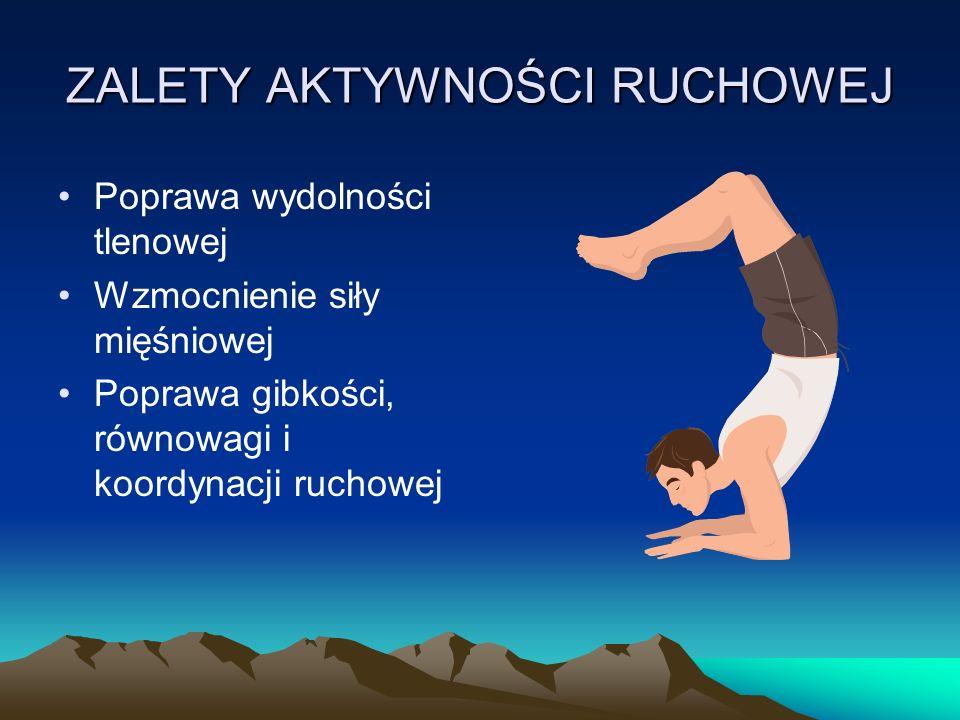 ZALETY AKTYWNOŚCI RUCHOWEJ Poprawa wydolności tlenowej Wzmocnienie siły mięśniowej Poprawa gibkości, równowagi i koordynacji ruchowej