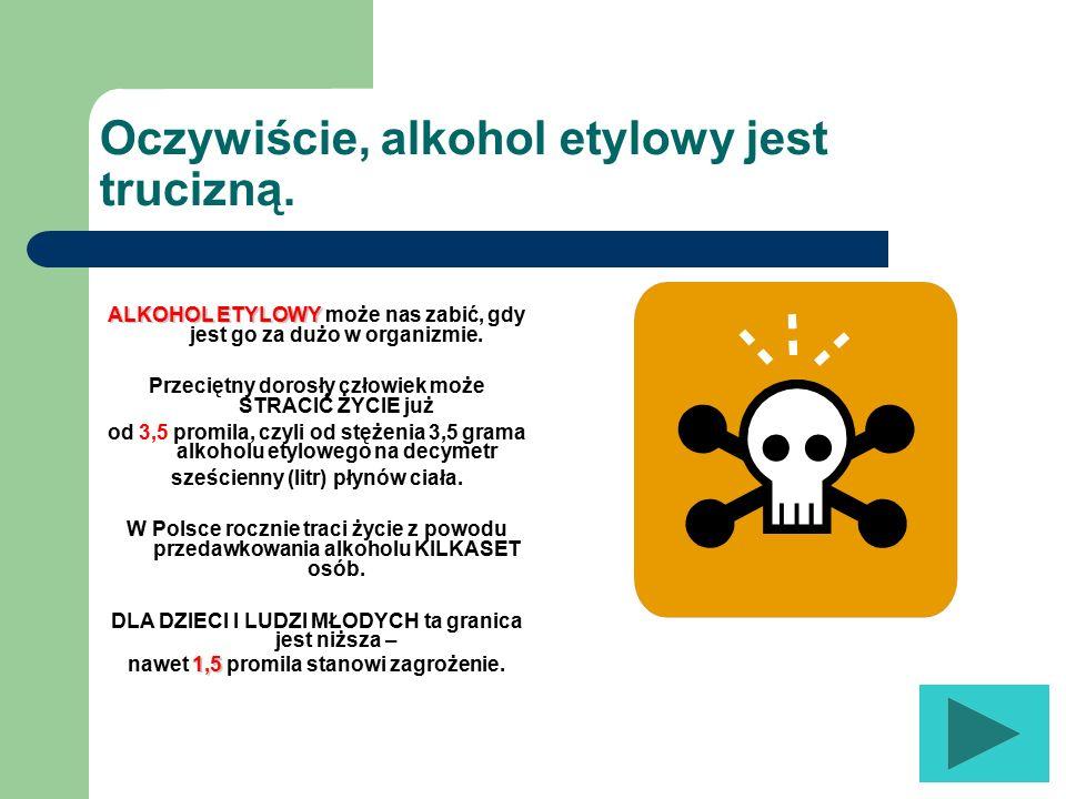 Oczywiście, alkohol etylowy jest trucizną.