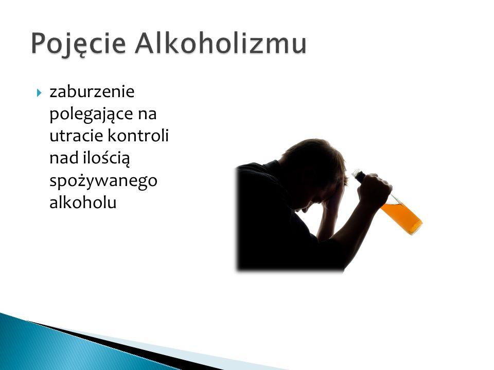  zaburzenie polegające na utracie kontroli nad ilością spożywanego alkoholu