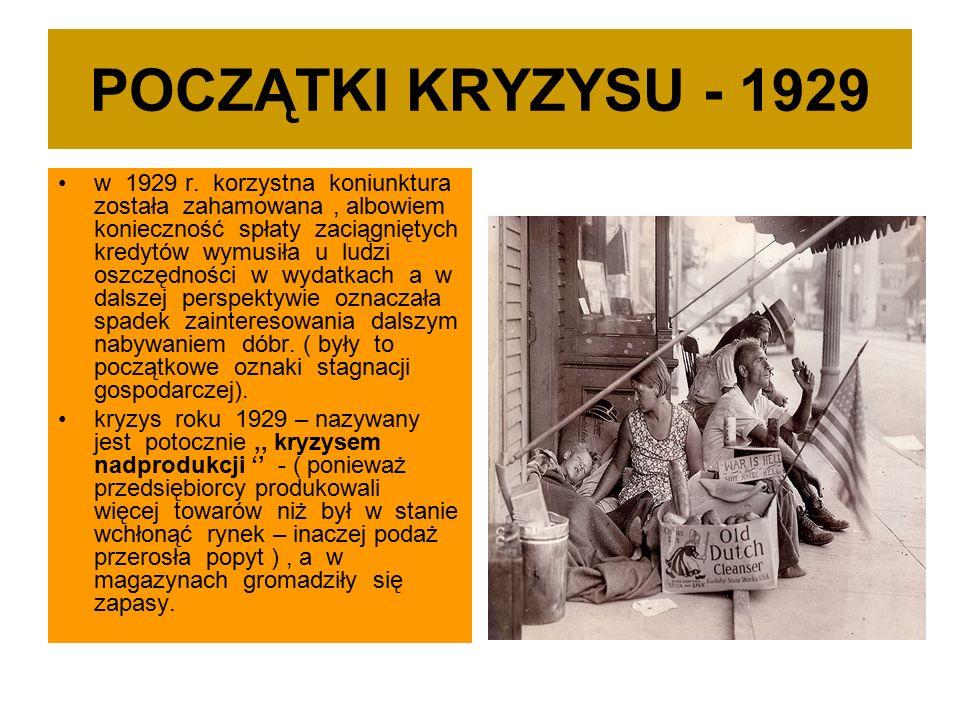 POCZĄTKI KRYZYSU - 1929 w 1929 r.