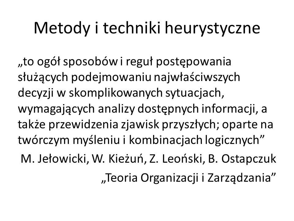 """Metody i techniki heurystyczne """"to ogół sposobów i reguł postępowania służących podejmowaniu najwłaściwszych decyzji w skomplikowanych sytuacjach, wymagających analizy dostępnych informacji, a także przewidzenia zjawisk przyszłych; oparte na twórczym myśleniu i kombinacjach logicznych M."""