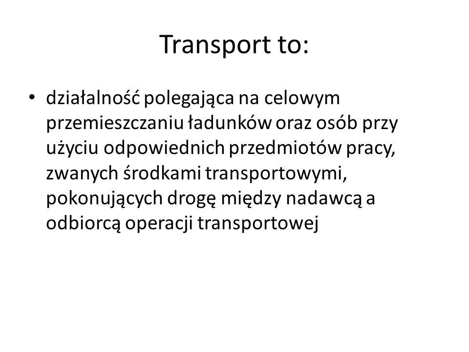 Transport to: działalność polegająca na celowym przemieszczaniu ładunków oraz osób przy użyciu odpowiednich przedmiotów pracy, zwanych środkami transp