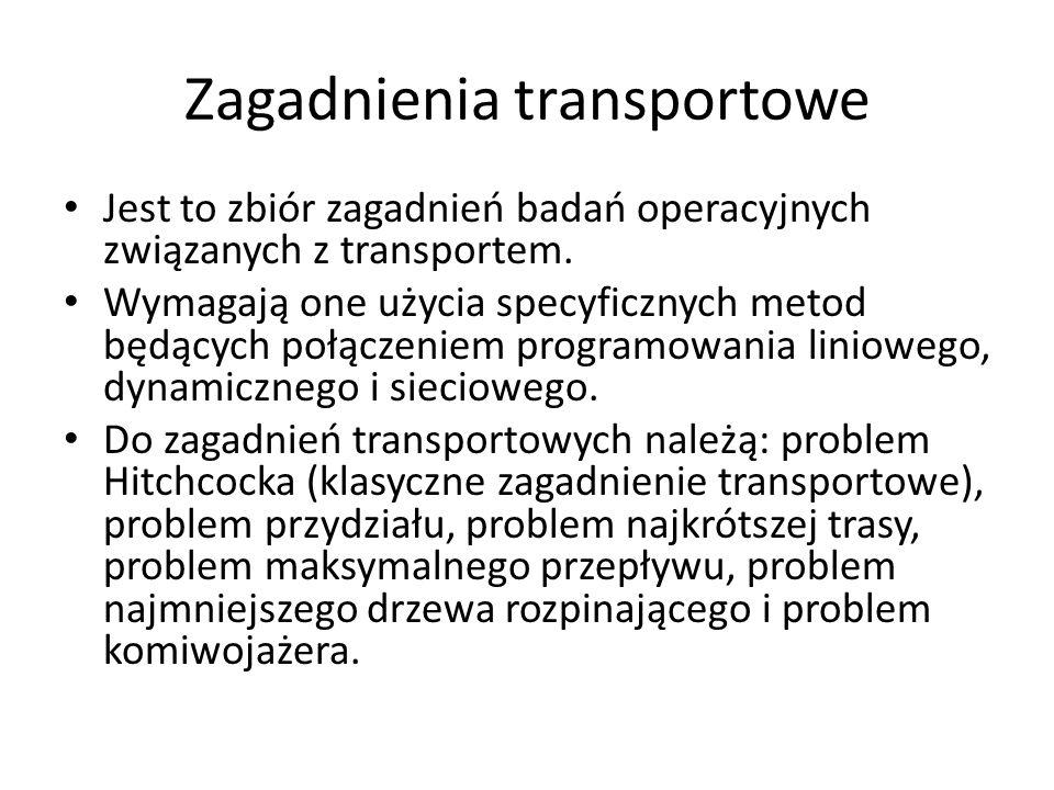 Zagadnienia transportowe Jest to zbiór zagadnień badań operacyjnych związanych z transportem. Wymagają one użycia specyficznych metod będących połącze