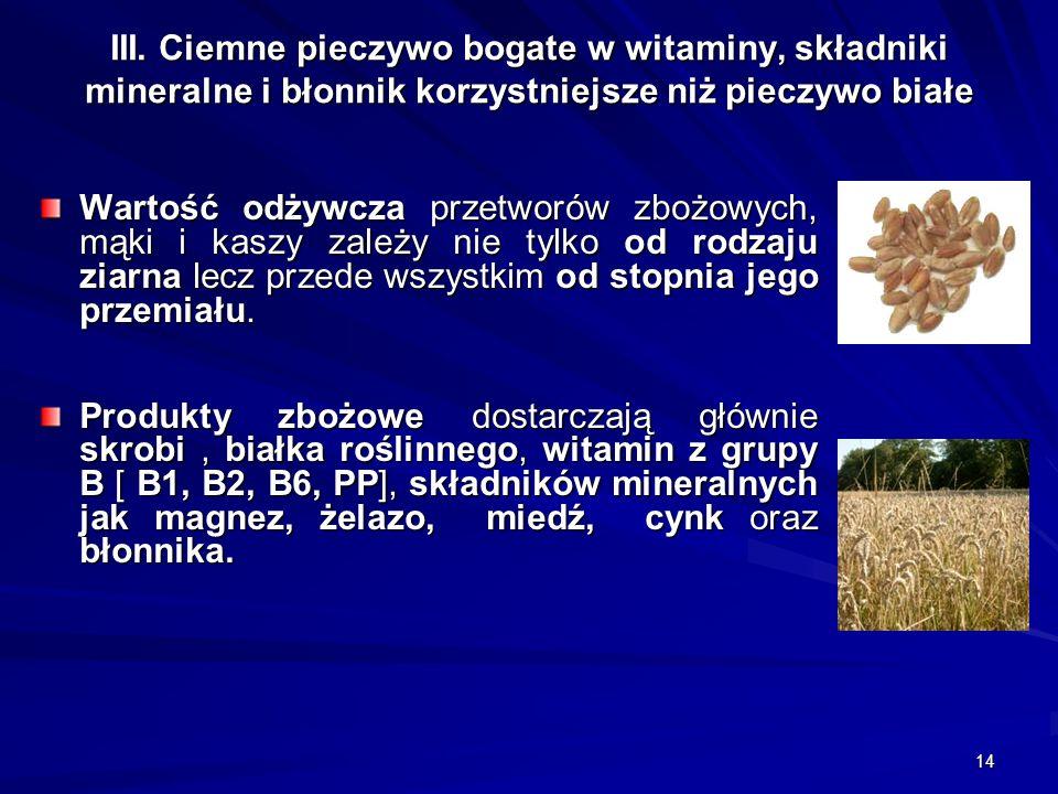 14 III. Ciemne pieczywo bogate w witaminy, składniki mineralne i błonnik korzystniejsze niż pieczywo białe Wartość odżywcza przetworów zbożowych, mąki