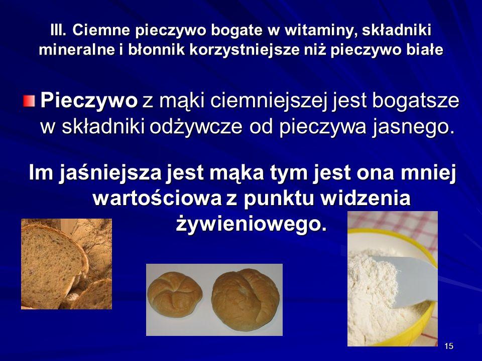 15 III. Ciemne pieczywo bogate w witaminy, składniki mineralne i błonnik korzystniejsze niż pieczywo białe Pieczywo z mąki ciemniejszej jest bogatsze